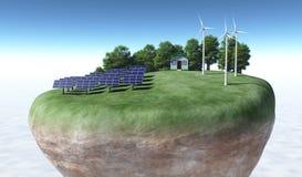 Ecologische generators bovenop een terrein Royalty-vrije Stock Afbeelding