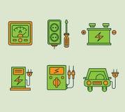 Ecologische geplaatste pictogrammen stock illustratie