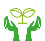 Ecologische handen die geïsoleerd pictogramontwerp beschermen Stock Afbeelding