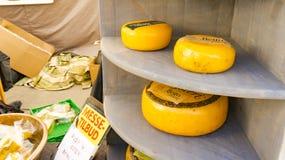 Ecologische Noorse gele kaas bij een landbouwers` s markt Royalty-vrije Stock Foto