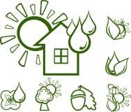 Ecologische pictogrammen stock foto