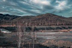 Ecologische ramp in de stad van Karabash, de vuilste plaats op de planeet Royalty-vrije Stock Foto