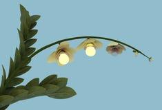 Ecologische tot bloei komende bloem met gloeilampen Royalty-vrije Stock Afbeelding