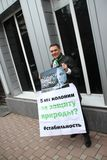 Ecologist Evgeny Vitishko on picket in support of the arrested ecologist Suren Gazaryan Stock Photos