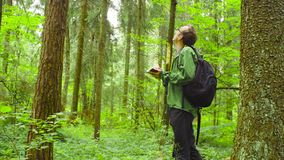 The ecologist in a forest writing in notebook. The ecologist researching contaminated forest. The environmentalist writing something in notebook stock footage