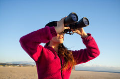 Ecologist Woman Watching the Environment with Binoculars Stock Image