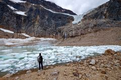 Ecologist working at a moraine lake with icebergs. Royalty Free Stock Images