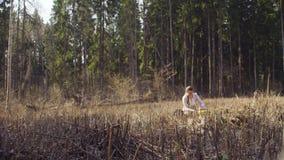 Ecologista en la escritura de la tala del bosque en cuaderno almacen de metraje de vídeo