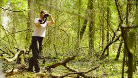 A ecologista que faz fotos na floresta foto de stock royalty free