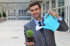 Ecologo che prende cura di una pianta immagini stock