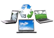 Ecology. Three different views of notebook with recycle icons Stock Photo