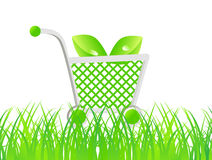 Ecology. Basket travel on the grass road Stock Photos