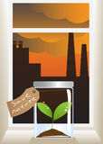 Ecology. Sprout in glass jar at window. Behind window industrial landscape. Illustration of ecological accident Stock Images