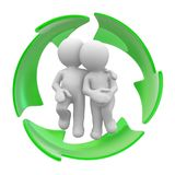 Ecology. 3d couple inside of a recycle symbol Royalty Free Stock Images