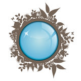 Ecology. Blue sphere with grey leaf and nature Royalty Free Stock Photography