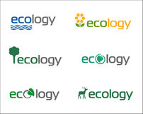 Ecology. Set of vector illustrated ecology icons or logos Royalty Free Stock Photos