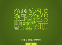 Ecology abstract background, integrated thin line symbols. Illustration in editable EPS and JPG format. Ecology integrated thin line symbols. Modern linear stock illustration