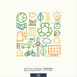 Ecology abstract background, integrated thin line symbols. Stock Images
