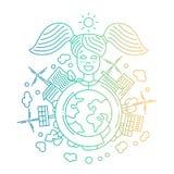 Ecology and alternative energy - line design illustration Royalty Free Stock Photography