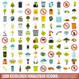 100 ecology analysis icons set, flat style. 100 ecology analysis icons set in flat style for any design vector illustration vector illustration