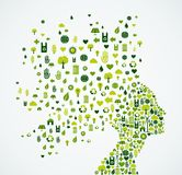 Ecology app icons splash Woman head Stock Images