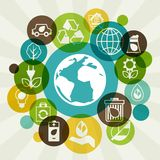 Ecology background with environment icons. Stock Photography