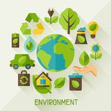 Ecology background with environment icons. Royalty Free Stock Images