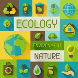 Ecology background with environment icons. Royalty Free Stock Photo