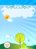 Ecology background. Environment sun ray ,cloud, tree,house,green flow background,vector illustration stock illustration