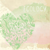 Ecology background with floral heart and paper texture -  illust Royalty Free Stock Photos