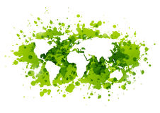 Ecology background with green paint splashes. On white Royalty Free Stock Photo