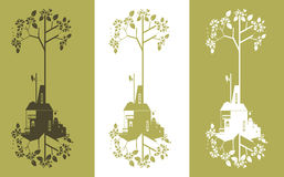 Ecology background - industrial concept. Set of vector decorative industry image with ecological concept Royalty Free Stock Image