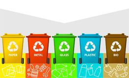 Waste segregation background with recycle bins. Ecology background with recycle bins Royalty Free Stock Photos