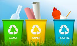 Waste segregation background with recycle bins. Ecology background with recycle bins Royalty Free Stock Photography