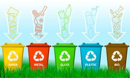 Waste segregation background with recycle bins. Ecology background with recycle bins Royalty Free Stock Photo