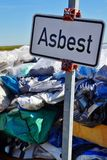 Waste of asbestos on dump site stock image