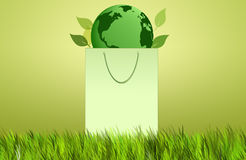 Ecology bag with green earth Royalty Free Stock Image