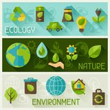 Ecology banners with environment icons. Royalty Free Stock Images