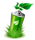 Ecology battery with leaves Stock Photo
