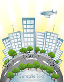 Ecology, Bicycle and Green City. With aeroplane in coulourfull Stock Images