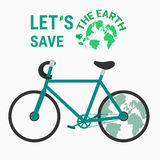 Ecology bicycle save the earth concept. Royalty Free Stock Images