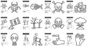 Ecology biohazard line icon set. Royalty Free Stock Images