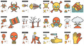 Ecology biohazard line icon set. Royalty Free Stock Photos