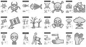Ecology biohazard line icon set. Royalty Free Stock Photo