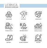 Ecology - black and white modern single line icons set Royalty Free Stock Photography
