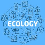 Ecology Blue Lines Illustration for presentation stock illustration