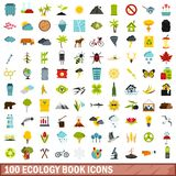 100 ecology book icons set, flat style. 100 ecology book icons set in flat style for any design vector illustration stock illustration