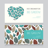 Ecology business card template with heart formed leaves Stock Photos