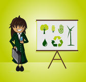 Ecology bussines woman. Business woman ecology presentation on whiteboard and environment icons. EPS10 vector file organized in layers for easy editing Royalty Free Stock Images