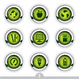 Ecology button series. Set of nine detailed ecology metallic buttons from series Stock Photography